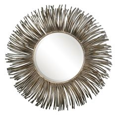 "SUNBURST MIRROR OPTION FOR OVER ROOM&BOARD ENTRY TABLE | Uttermost Akisha Starburst Mirror 38""DIA  Hand forged metal tubes finished in an oxidized, nickel plating with light antiquing create this mirror's frame. Mirror has a generous 1 1/4"" bevel."