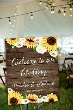 Printable Wedding Welcome Sign, Sunflower Welcome Sign, Rustic Welcome Poster…