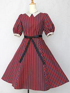 Victorian maiden レジメンタルストライプインタックリボンドレス