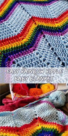 [Easy] Rainbow Ripple Baby Blanket