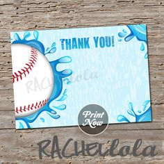 Baseball Pool Party, Thank You notes,  4x6, or 5x7, Instant Download