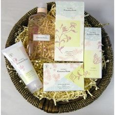 FineGiftSoaps.Com Exclusive - Thymes Kimono Rose Gift Basket Collection  This wonderful collection of Thymes Kimono Rose products makes an excellent gift for her. The collection includes body wash, body lotion, cologne, bar soap and hand cream.  Great for Mother's Day, an Anniversary, a Birthday or just to say I Love You!  Fragrance: A sheer, sensuous floral with sweet clementine, voluptuous cassis, satiny rose, peony and jasmine petals, finished with a kiss of vanilla.