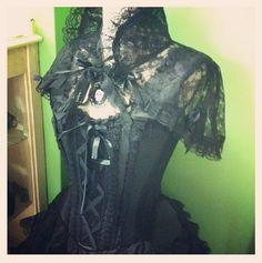 FeeFiFoFun's black lace bolero with Burleska Lace Corset Dress. So sexy.