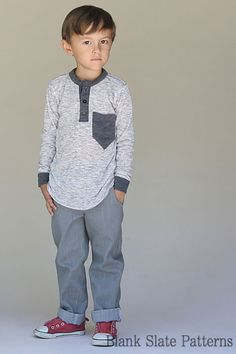 Hipster Henley shirt sewing pattern for boys and girls by Blank Slate Patterns Sewing Patterns For Kids, Sewing Projects For Beginners, Sewing For Kids, Sewing Tutorials, Sewing Tips, Sewing Men, Sewing Ideas, Sewing Crafts, Learn Sewing
