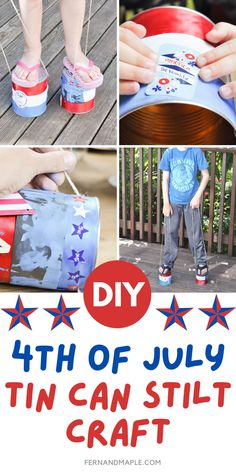 Step-by-step instructions for how to create easy Fourth of July themed stilts out of cheap and accessible tin cans and string! A fun DIY craft project for kids, and tons of entertainment and fun for 4th of July parties. Get details now at fernandmaple.com!