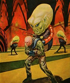 Cover for sci-fi mag, Fantastic (October Art by Leo Summers. I love the creature's devious glance at the viewer (or is it staring straight ahead? Pulp Fiction, Fiction Novels, Science Fiction Kunst, Science Fiction Magazines, Ufo, Arte Tribal, Pulp Magazine, Magazine Covers, Magazine Rack