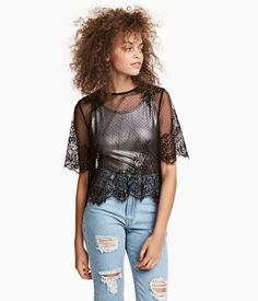 Black. H&M LOVES COACHELLA. Short-sleeved lace top with buttons at back.