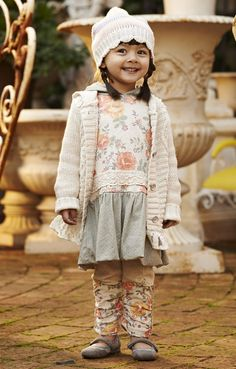 naartjie kids - Marled stripe sweater knit beanie in oatmeal // lace trimmed hooded cardigan sweater in oatmeal // castle spot trimmed royal rose hooded dress in oatmeal // royal rose leg warmer ribbed leggings in oatmeal