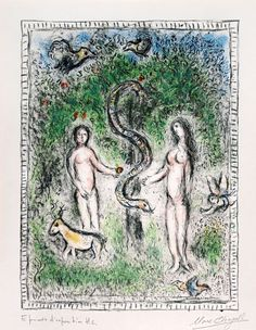 Marc Chagall - Adam, Eve et le Serpen (Adam, Eve and the Serpent) | 1stdibs.com