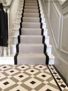 33 Awesome Painted Stairs Ideas To Beautify Your Interior - Painting a stairway will not only decorate the appearance of the stairs but will also enhance the appearance of your entire house. In case you are loo. Tiled Hallway, Victorian Stairs, Home, Hallway Flooring, Staircase Design, Victorian Hallway, House, Hallway Designs, Victorian Homes