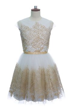 IVORY FLOWER EMBROIDERED PARTY DRESS