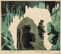 Serpent Grotto - part of a paper theatre set, german 1889