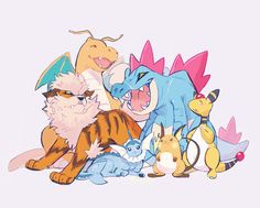Dragonite, Arcanine, Vaporeon, Raichu, Ampharos, and Feraligatr