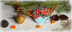 Blue teacup with poinsettia and a reindeer, polymer clay christmas, necklace by Zubiju https://www.facebook.com/Zubiju