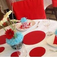 white table cloth, red circles, get red or white plates and red cups, silver ware blue? or maybe all blue silver ware! Birthday Celebration, Birthday Parties, Birthday Ideas, Kid Parties, Boy Birthday, Happy Birthday, Dr Seuss Party Ideas, Dr Seuss Baby Shower, Cook Book Stand