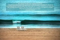 Gone Away..  a beach scene with a verse from Jeremiah.