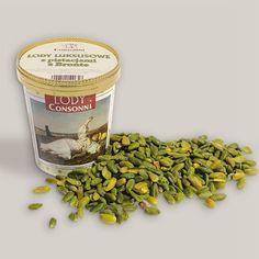 Lody luksusowe z pistacjami z Bronte Lody z pistacjii pochodzącej w całości z upraw w Bronte na Sycylii. Uprawiane w słonecznym, nadmorskim, wyspowym klimacie pistacje są uznane za najlepsze i najwartościowsze na świecie, jedyne, które uzyskują smak czystej, najwyższej jakości pistacji. Mają słodki smak i przyjemny zapach. Wzbogacenie diety o pistacje może zapobiegać schorzeniom serca.