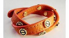 Genuine Brown Genuine Leather Bracelets with Gold Hardware Size 7