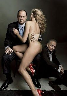 "James Gandolfini as Tony Soprano and series creator David Chase with ""a friend"" Vanity Fair Cover  April 2007- Photograph by Annie Leibovitz."