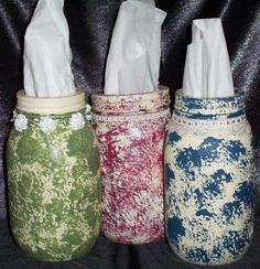 Kleenex Jars by Lillie Mae's Crafts ~ what a fabulous idea! Make different color themes and switch around the house. I think I would use the 'seal' to make a big slit and add binding around the cut. This would cut down on the dust entering in. LOVE this idea and a great gift item to a housewarming too!