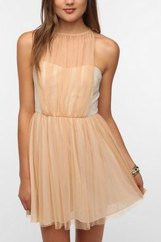 gahhh, why do clothes have to be so expensive? I love this. Pins and Needles Tulle Overlay Halter Dress  #UrbanOutfitters