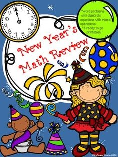 "New Year's Math Review is a perfect ""ready to go"" file for the week back to school after New Year's.  It is also a great way to start preparing students for the upcoming state test.  With 3 printables, students will be able to review word problems with a variety of concepts, as well as algebraic equations with multiple operations."