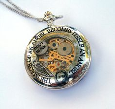 "Doctor Who Mechanical Pocket Watch ""The image of an angel becomes itself an angel""  by TimeMachineJewelry"