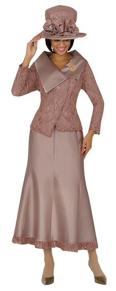 Nubiano Church Suit Featuring A Soft Rose Color, Asymmetric Jacket, Silk Look And Lace Trim Church Outfit Fall, Church Attire, Church Dresses, Church Outfits, Funeral Attire, Church Clothes, Church Suits And Hats, Women Church Suits, Suits For Women