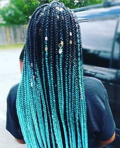 Turquoise with Style Box Braids for Black Women # Braids . - Turquoise with style box braids for black women – Best - Short Box Braids, Blonde Box Braids, Braids For Black Hair, Short Hair, Braids For Black Women Box, Purple Box Braids, Curly Short, French Braid Hairstyles, Braided Hairstyles For Black Women