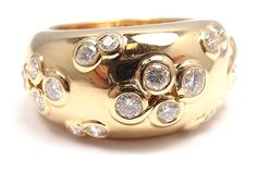 Extremely RARE Lovely Authentic Cartier 18K Yellow Gold Diamond Wide Band Ring | eBay - $7500