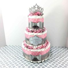 Pink and Silver Princess Diaper Cake Centerpiece