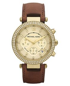 Michael Kors Watch, Womens Chronograph Parker Chocolate Brown Leather Strap 39mm MK2249 - All Michael Kors Watches - Jewelry & Watches - Macys