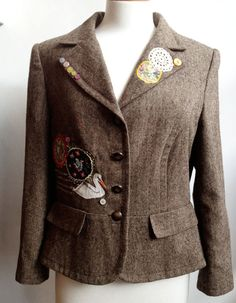 Unique Upcycled Customised  Brown Tweed Jacket by Queenieandted, £95.00