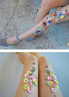 Handmade Fishnet Tights Adorned with Dazzling Bling by Lirika Matoshi Fashion Details, Diy Fashion, Pretty Outfits, Cute Outfits, Fishnet Tights, Floral Tights, Hippie Style, My Style, Kanzashi