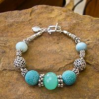 Chalcedony, Fire Agate and Sterling Silver Bracelet