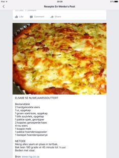 ... Savory Snacks, Savoury Dishes, Savoury Tarts, Food Dishes, Quiche Recipes, Tart Recipes, Braai Recipes, Cooking Recipes, Cooking Measurements