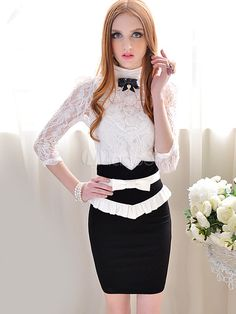 2013 New Elegant Stand Collar Lace Floral Patterned Cotton Women's Tee - Milanoo.com