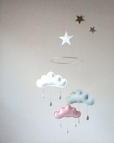 Blanco gris nube rosa y estrella móvil para por leptitpapillon