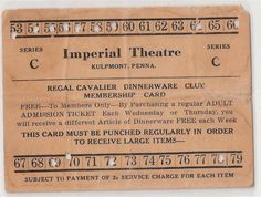 punch ticket Imperial Theater, Admission Ticket, Punch, Alcoholic Punch