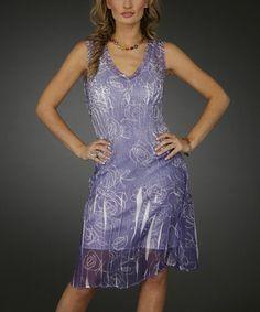 Look at this #zulilyfind! Lavender Floral Sublimation Sleeveless Dress - Women by Jerry #zulilyfinds