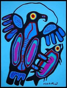 Norval Morrisseau - Eagle with Salmon