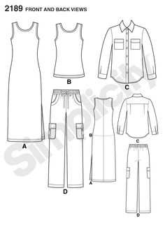 Simplicity pattern 2189: Misses' & Plus Size Sportswear shirt, pants and knit dress or top