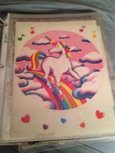 Vintage Sticker Mod Off Roll Lisa Frank M Clown Colorful Unicorn 1984 Rare