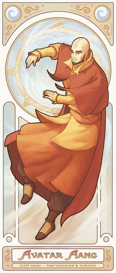 Avatar Aang - Art Nouveau Avatars by swadeart on DeviantArt