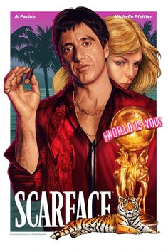 Film Scarface, Scarface Poster, Comic Movies, Good Movies, Movie Tv, Al Pacino Michelle Pfeiffer, Arte Cholo, Gangster Movies, Rock Poster