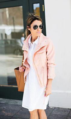 White eyelet dress | blush jacket