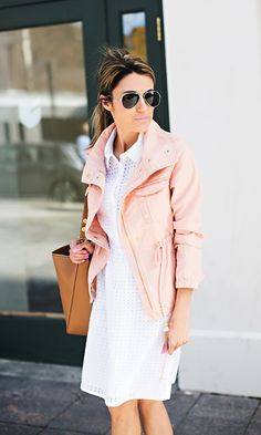 White eyelet dress | blush jacket