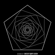 Sacred geometry illustration featuring a spiraling pentagon design made from…