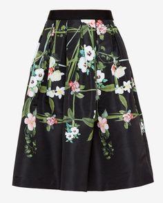 Secret Trellis print full midi skirt - Black | Skirts & Shorts | Ted Baker