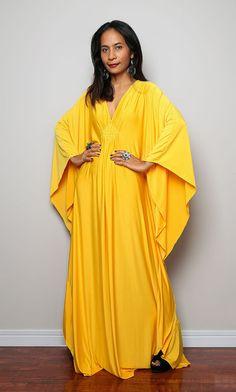 Yellow Maxi Dress  Kaftan Kimono Butterfly Dress by Nuichan, $59.00